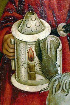 Oberhausmuseum ( Passau ). Nativity ( 15th century ) - detail: Lantern in the hand of Saint Joseph.