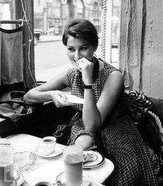 celebs drinking coffee: Sophia Loren in a coffee shop in New York City, photo by Peter Stackpole, LIFE June 23, 1958