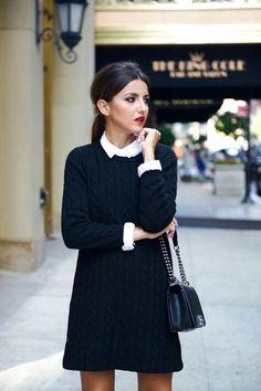 Robe tricot noire chemisier blanc
