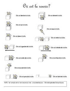 Les prépositions de lieu worksheet AND matching flashcards! French Basics, French For Beginners, French Teacher, Teaching French, Teaching Spanish, How To Speak French, Learn French, French Prepositions, French Language Learning