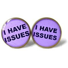 Lavender I have issues. Earrings - Funny Pop Culture Soft Grunge... (13 CAD) ❤ liked on Polyvore featuring jewelry, earrings, accessories, plugs, goth earrings, resin jewelry, lavender earrings, gothic jewelry and grunge jewelry