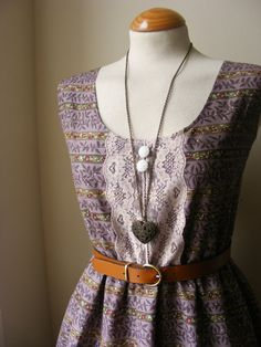 Jennifer Lilly Vintage Inspired Handmade Purple Mauve Lace Detail Dress, $40.00
