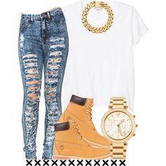 This would me better with a flannel tied around the waist. Timberlands~ Disstrested denim jeans~gold