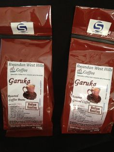 Garuka single estate Coffee. The bean for this coffee is grown in the volcanic soil of Rwanda. It is picked and roasted by local farmers. available from www.buildrwanda.org.uk