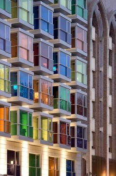 Hesperia Bilbao Hotel, Bizkaia, Spain: This four-star hotel is located along the Bilbao riverfront, a residential area in Bizkaia, Spain. Its 36 colorful lookouts consist of three primary colors — red, yellow and blue — and their complementary colors, green, violet and orange. Your vacation is guaranteed to be tops: Looking through colors always makes everything better, right