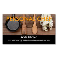 Elegant Personal Chef Business Card. I love this design! It is available for customization or ready to buy as is. All you need is to add your business info to this template then place the order. It will ship within 24 hours. Just click the image to make your own!