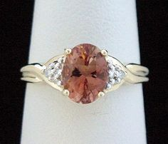 Orange Sapphire Ring Natural 1ct Oval Solitaire with Diamond Accents in 14K Goldby americanjewelryco on Etsy, $215.00