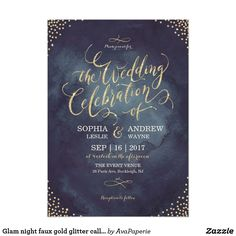 Glam night faux gold glitter calligraphy wedding card Glamour gold hand lettering calligraphy wedding celebration design and gold dots confetti on dark navy sky night watercolor background, shimmer faux metallic gold glitter effect, modern, chic, elegant and classy, perfect for vintage wedding or winter wedding in evening. Customize your own wedding invitation card.