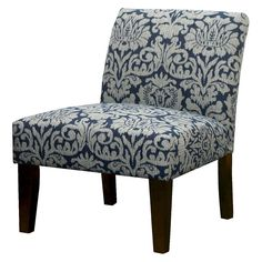 Avington Upholstered Slipper Chair Indigo Damask