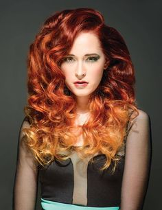 Fire-y red and orange ombre by Tina Monz; Photog: Cory Morhart #HotOnBeauty #Ombre www.hotonbeauty.com