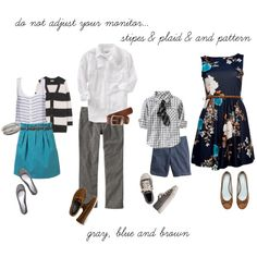what to wear | family portraits I love all the different patterns together!