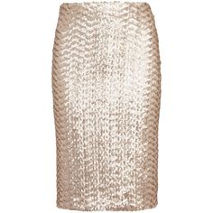 Alice + Olivia Ramos pale gold sequinned pencil skirt ($460) ❤ liked on Polyvore featuring skirts, pink skirt, sequin skirt, knee length pencil skirt, gold skirt and pencil skirt