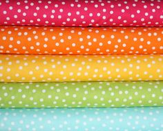 Remix Rainbow Polka Dots quilt or craft fabric bundle by Ann Kelle for Robert Kaufman- Fat Quarter Bundle, 5 total on Etsy, $13.75