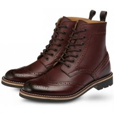Outdoor Shoes BHW7701 Burgundy - Lace Up, Round Toe, Wing Tip, Leather Boots, High Top, Ankle Boots, Oxford, Casual Shoes for Men, Modeisland.com, Men's Shoes Created by BOATISLAND, Made in Korea