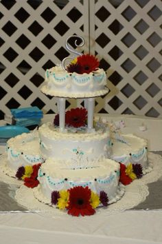 Wedding cake under 100 bucks!!!  Go to SAMs Club order 10 inch rounds with white icing and white border. Then assemble as you want!!