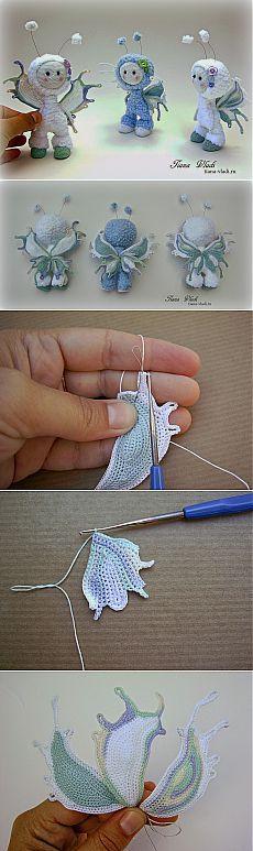 Tiana Vladi: Кнопы Бабочки Бирюзовые фантазии - Amigurumi butterfly wings tutorial.