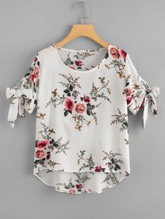 SheIn offers Floral Print Dip Hem Blouse & more to fit your fashionable needs. Blouse Styles, Blouse Designs, Stylish Outfits, Fashion Outfits, Fashion Women, Fashion Ideas, Sleeves Designs For Dresses, Fancy Tops, Indian Designer Outfits