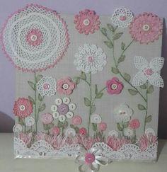 Buttons lace and doilies Crochet Wall Art, Crochet Home, Crochet Crafts, Crochet Projects, Sewing Crafts, Sewing Projects, Framed Doilies, Lace Doilies, Crochet Doilies