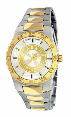 Game Time Men's COL-EXE-ALA2 Univ Of Alabama A Logo Watch Game Time. $79.95. Solid stainless steel cap folded link bracelet and closure with double lock safety measure,. Limited lifetime warranty.. Solid japanese quartz analog movement with sweeping second hand with 12 gold-tone marker/indexes on the custom silver and gold team logo retro sunburst dial,. High durability solid alloy case, custom gold-tone bezel with numerical details, solid stainless steel case back, solid brass...