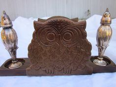 Vintage Wood Owl Napkin Holder With Cut Outs To Hold Your Salt And Pepper…