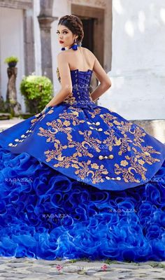 Ruffled Charro Quinceanera Dress by Ragazza Fashion - Apartment Balcony Decorating mexican dresses Mariachi Quinceanera Dress, Mexican Quinceanera Dresses, Quinceanera Themes, Mexican Dresses, Charro Dresses, Vestido Charro, Sweet 15 Dresses, Marine Uniform, Quince Dresses