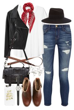 """Outfit for college with a brown boots"" by ferned on Polyvore featuring Current/Elliott, Maison Michel, Yves Saint Laurent, Acne Studios, H&M, Casetify, Proenza Schouler, Topshop and J.Crew"
