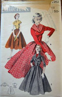 Butterick 7952 A - Vintage Sewing Patterns 50s day dress full skirt red black brown tan fashion style