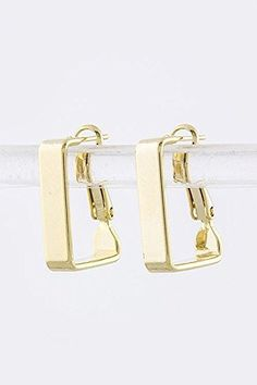 TRENDY FASHION JEWELRY SMALL RECTANGLE HOOP EARRINGS BY FASHION DESTINATION  Gold >>> Check this awesome product by going to the link at the image.