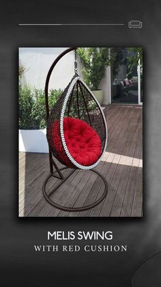 Melis Brown and White Swing with Red Cushion comes with unique design with confortable cushion made of cotton cloth filled with cotton. Extra heavy frame made of MS heavy duty pipe that can take load upto 150kgs, extra wide base ring. Heavy stand, heavy spring for comfortable seating, adjustable height. High Quality durable weather proof wicker made of high quality Class A PU keeps your home/garden a beautiful place for longer duration. Study Tables, Wooden Street, Cushions Online, Red Cushions, Swinging Chair, Wicker, Ms, Beautiful Places, Home And Garden