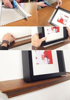 use drawer liners to keep pics from falling off shelves. Used this for some pictures that fall over ALL the time, worked like a charm! So glad I found this tip!