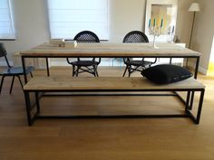 eetbank 2 tafels stalen onderstel - Google zoeken