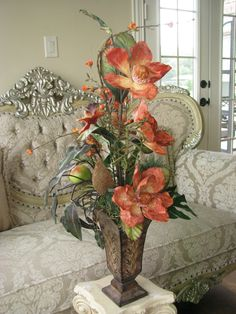 silk flowers floral arrangements | Sale 40 OFF Silk Flower Arrangement Orange EXOTIC in Tall Narrow Tin ...