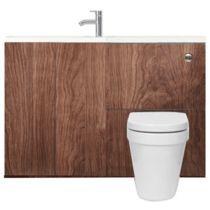 MyPlan furniture set for slimline basin and top - walnut image 1 Toilet And Sink Unit, Bathroom Sink Units, Toilet Sink, Space Saving Toilet, Space Saving Bathroom, Bathroom Furniture, Furniture Sets, Ideal Bathrooms