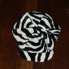 Newsboy hat  black and white Zebra stripe baby by Susansweaters, $6.00