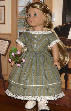 1850's Chevron Striped Dress for 18 Inch Dolls like Marie Grace
