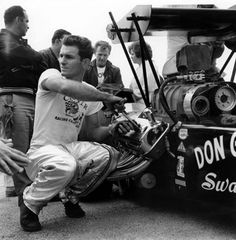 A young Big Daddy Garlits turning the wrenches.