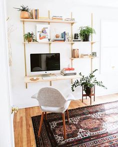 home office shelving Home Office Space, Home Office Design, Home Office Furniture, Home Office Decor, Home Decor, Office Rug, Office Ideas, Office Shelving, Ikea Wall Shelves
