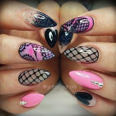 """""""Loveee these pink✖lace nails by @getbuffednails  #spjbeauty"""""""
