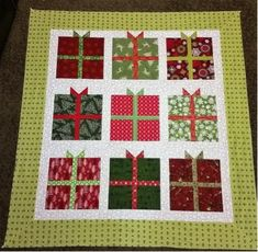 I know that last month I promised to show you a Thanksgiving table runner this week, but I just couldn't resist starting my Christmas sewing. I love this present quilt! It is very happy, almost whi...