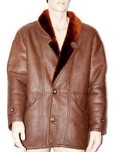 Original Vintage Man Short Coat Sheepskin Jacket Branded SUPREMA Giaccone Shearling Montone Pelle Uomo Marrone Vintage Originale Taglia 48 di BeHappieWorld su Etsy