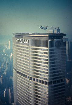 Pan AM Building...In the great days you could hop a helicopter to the airport and avoid the traffic.  During the World's Fair there was also service from the Pan Am building to the fairs heliport.………………..For more classic 60's and 70's pics please visit and like my Facebook Page at https://www.facebook.com/pages/Roberts-World/143408802354196