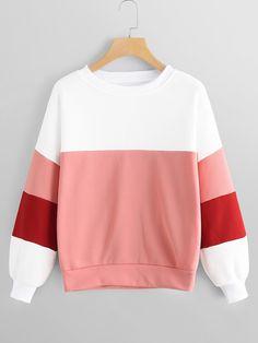 59969fb3170fb Colorblock Round Neck Sweatshirt