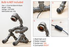 PIPESTORY  Pipe-Lampe / Iron Rohr Lampe / industrielle