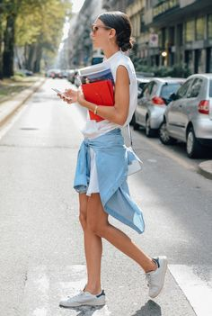 White dress, white sneakers, chambray waist-tied shirt