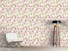 Design #Tapete Tulpen Bouquet, Curtains, Shower, Prints, Design, Home Decor, Self Adhesive Wallpaper, Tulips, Wall Papers
