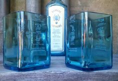 Bombay Sapphire Blue Drinking Glasses by ReWineIt02346 on Etsy