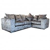 Ortrand Crushed Velvet Corner Sofa Grey Fabric L Shaped Sofa As Right Hand Velvet Corner Sofa L Shaped Sofa Grey Corner Sofa
