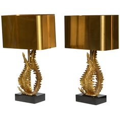 Pair of Maison Charles Bronze Fern Table Lamps (Signed)