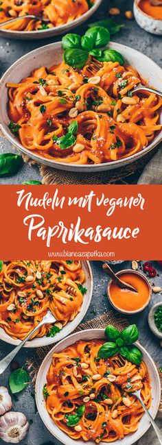A simple recipe for pasta with paprika sauce - this vegan pasta sauce is . - A simple recipe for pasta with paprika sauce – this vegan pasta sauce is incredibly creamy, healt - Paprika Sauce, Vegan Pasta Sauce, Creamy Vegan Pasta, Pasta Sauce Recipes, Pasta Recipes Dairy Free, Dairy Free Dinners, Easy Pasta Sauce, Creamy Pasta Recipes, Healthy Vegetarian Recipes