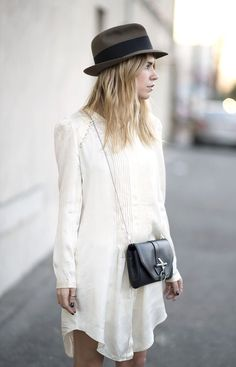 white vintage balanced by black. simple, upscaled by accesories, day outfit
